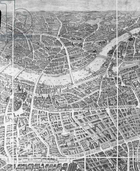 Balloon View of London, 1851 (litho)