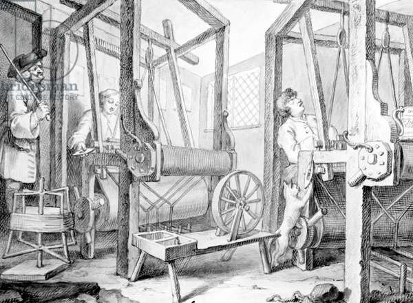 The Fellow Prentices at their Looms Representing Industry and Idleness, 1747 (wash, pen and ink and graphite on paper)