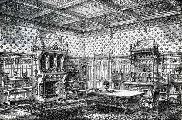 Design for a Gothic Dining Room, published in 'The House-Furnisher & Decorator', September 1 1872 (litho)
