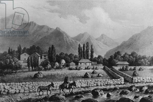 Guanta (Valle de Coquimbo), from 'Historia de Chile', 1854 (litho) (b/w photo)