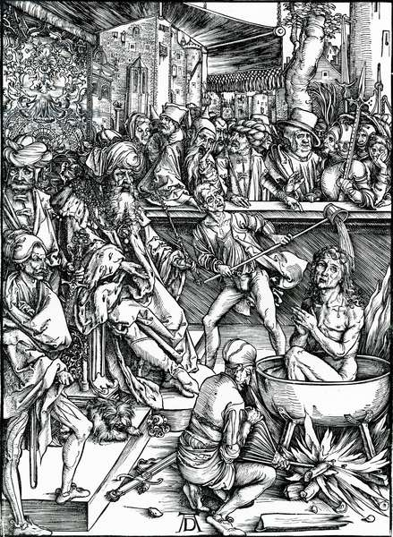 St. John the Evangelist being tortured in a vat of boiling oil, from the 'Apocalypse' series, 1498 (woodcut)