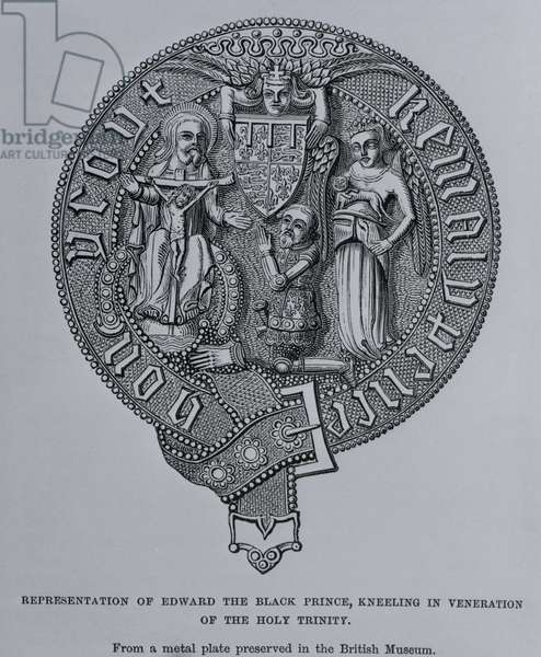 Representation of Edward the Black Prince Kneeling in Veneration of the Holy Trinity (engraving) (b/w photo)