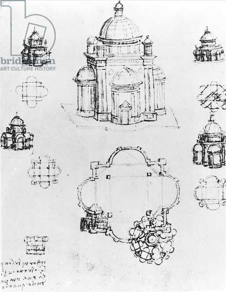 Studies for a building of a centralised plan, detail of fol. 3v from Codex Ashburnham I and II (formerly part of Manuscript B (2184)), c.1492 (pen & ink on paper)