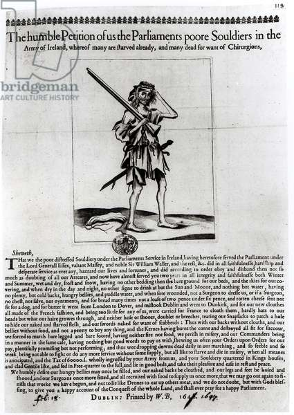 Dublin Broadsheet, 1647 (engraving) (b/w photo)