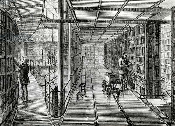 The Book-Cases at the British Museum, illustration from 'Old and New London' by Edward Walford, published c.1880 (engraving)