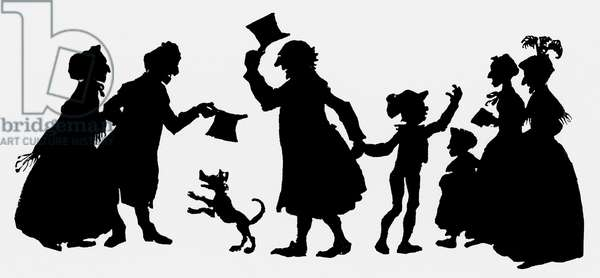 Silhouette illustration from 'A Christmas Carol' by Charles Dickens, 1917 (printed paper)