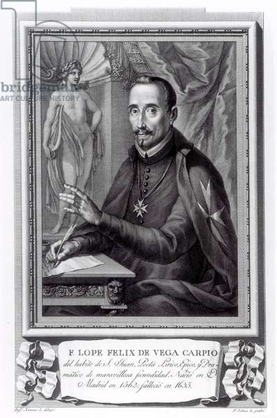 Portrait of Lope Felix de Vega Carpio (1562-1635) engraved by Fernando Selma (1752-1810) (engraving) (b/w photo)