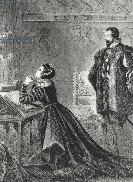Queen Mary in her Private Oratory (1542-87) (engraving) (b/w photo)