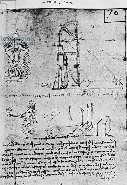 Suggestions on how to construct a bastion at night, fol. 70r from Paris Manuscript B, 1488-90 (pen & ink on paper)
