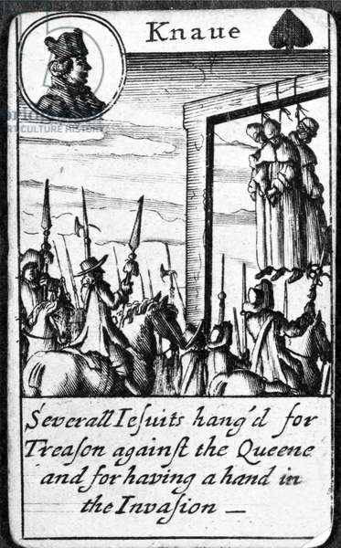 Several Jesuits hanged for Treason, Knave of Spades from a pack of playing cards (engraving)
