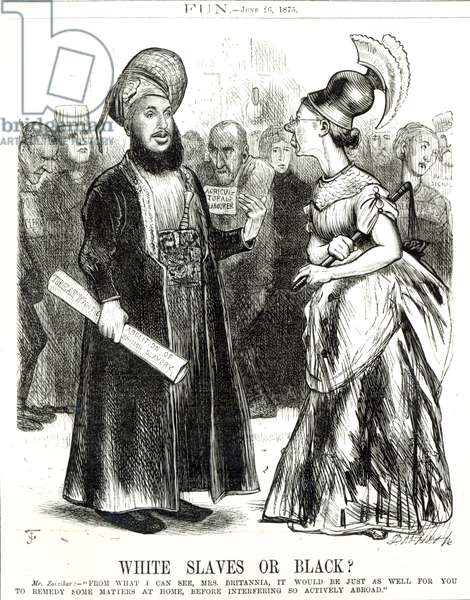 'White Slaves or Black?', caricature from 'Fun' magazine June 26th 1875 (litho)