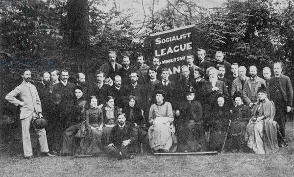 William Morris and the Hammersmith Socialist League, c.1885 (b/w photo)