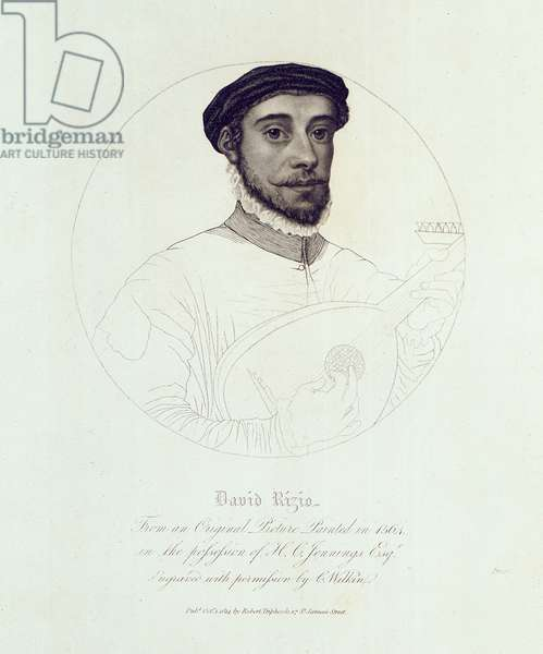Portrait of David Rizio, from an original painted in 1564, engraved by C. Wilkin, pub. London, 1814 (engraving)