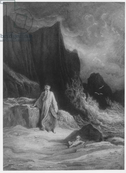 The Finding of King Arthur, illustration from 'Idylls of the King' by Alfred Tennyson (engraving)