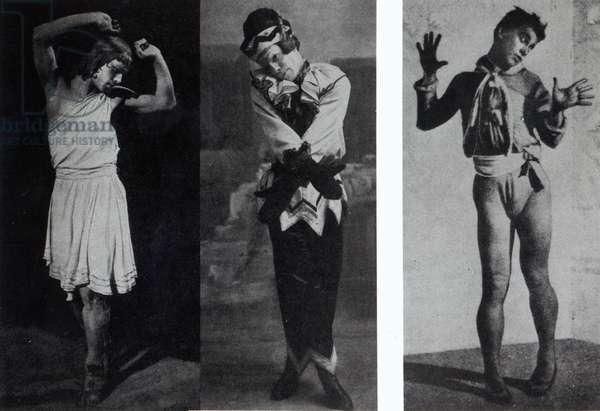 Vaslav Nijinsky in the role of Narcisse, Petrouchka and Till Eulenspiegl, c.1911-16 (b/w photo)