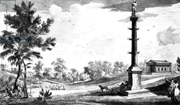 A View from Capt. Grenville's Monument to the Grecian Temple, Stowe House Gardens, engraved by George Bickham, 1753 (engraving)