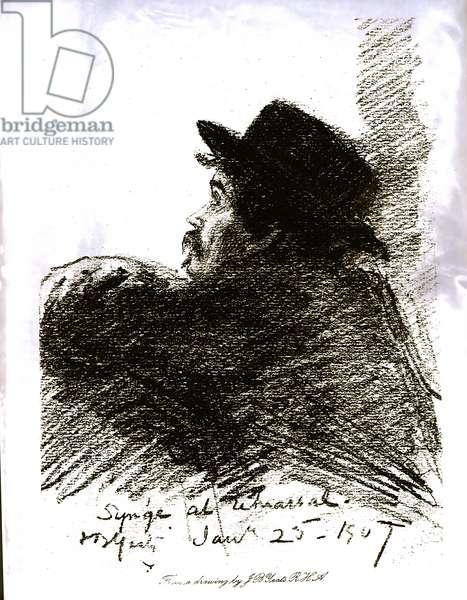 John Millington Synge (1871-1909) at Rehearsal, 1907 (print) (b/w photo)