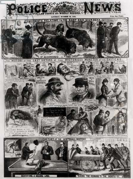 Incidents Relating to the East End Murders, from 'The Illustrated Police News', 20th October 1888 (engraving) (b&w photo)