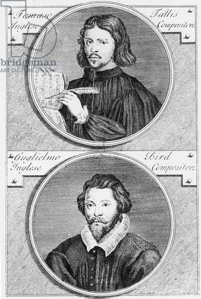 Thomas Tallis (c.1505-85) and William Byrd (1543-1623) engraved by Niccolo Francesco Haym (1688/89-c.1729) (engraving) (b/w photo)