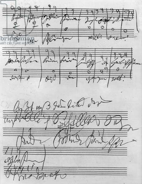 Facsimile of a page of music from the 'Biography of L. van Beethoven' by Anton Schindler (1795-1864)
