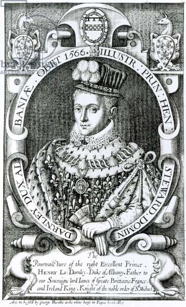 Portrait of Henry Stewart, Lord Darnley, Duke of Albany (1545-66) (engraving) (b/w photo)