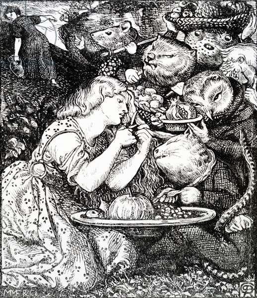 Frontispece to 'Goblin Market and other poems' by Christina Rossetti, engraved by William Morris, c.1865 (engraving)