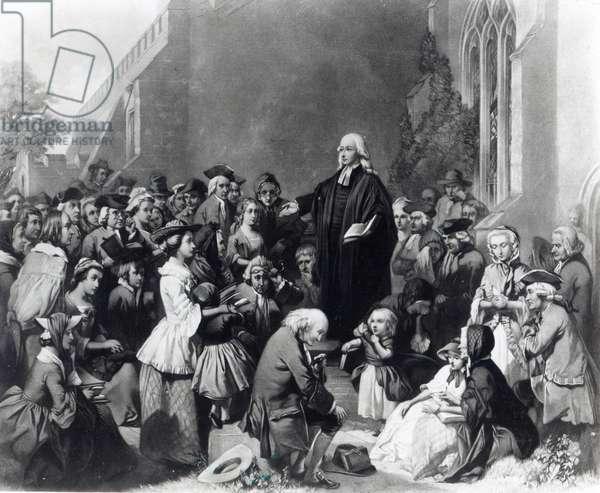 John Wesley preaching (engraving)