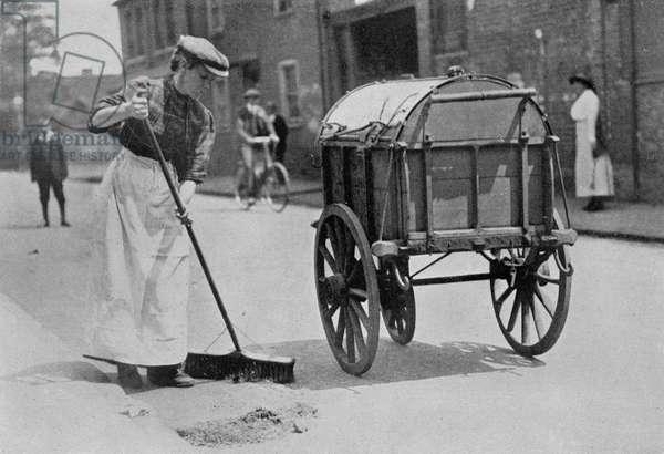 Women Roadsweepers, War Office photographs, 1916 (b/w photo)