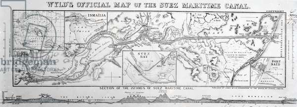 Wyld's Official Map of the Suez Maritime Canal, 1869 (engraving)