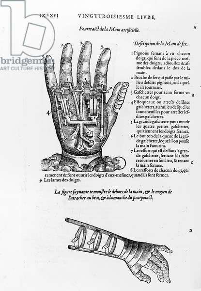 Description of a mechanical iron hand (engraving) (b/w photo)