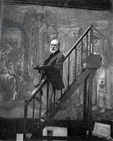 Sir Edward Burne-Jones painting 'The Star of Bethlehem' in his studio, 1890 (b/w photo)