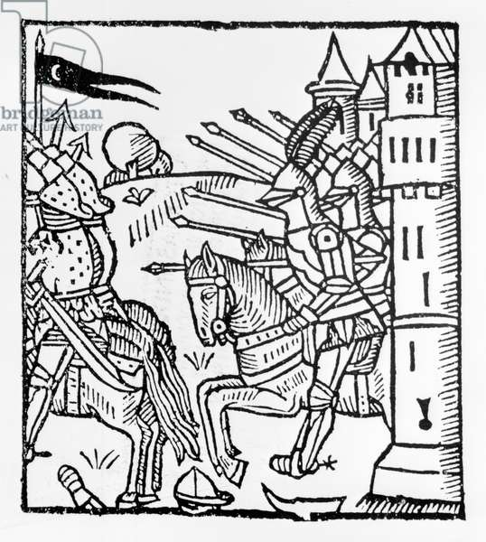 Crusading knights ride out to do Battle (woodcut)