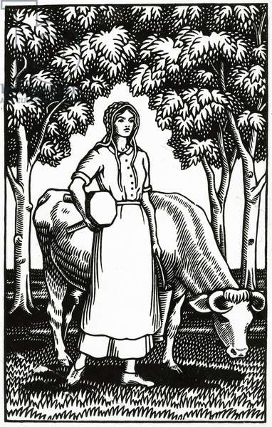 Frontispiece to an illustrated edition of 'Tess of the D'Urbervilles' by Thomas Hardy, 1926 (woodcut)