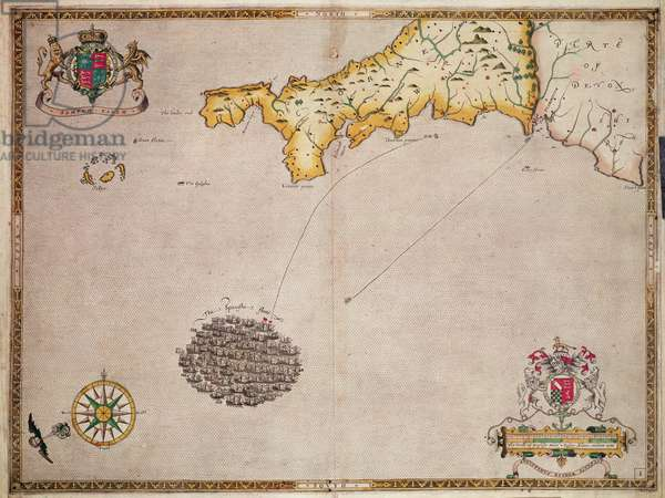 Map No. 1 showing the route of the Armada fleet, engraved by Augustine Ryther, 1588 (engraving) (b/w photo)