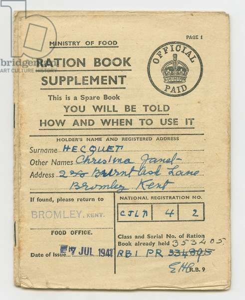 Ration Book for Christina Hecquet, Bromley, Kent, 1941 (print)
