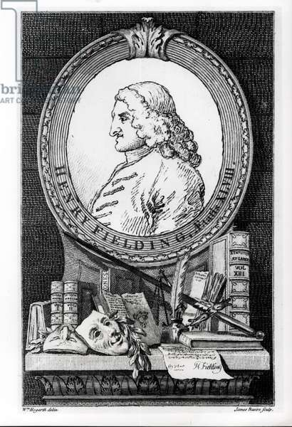 Henry Fielding (1707-54) at the Age of Forty Eight, engraved by James Basire (engraving) (b&w photo)