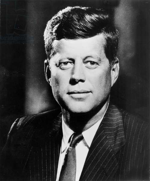 Portrait of John F. Kennedy (1917-63) c.1961 (b/w photo)
