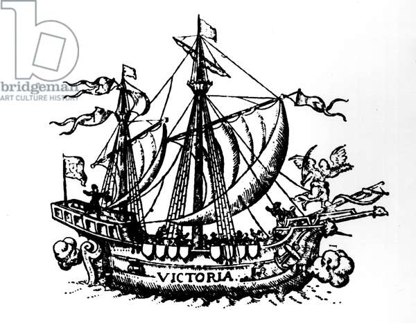 Ferdinand Magellan's boat 'Victoria', the first to circumnavigate the world (engraving) (b/w photo)