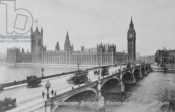 Westminster Bridge and the Houses of Parliament, c.1902 (b/w photo)