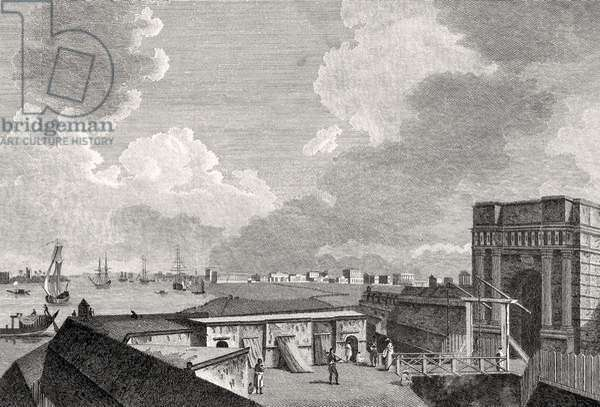 A View of Calcutta taken from Fort William, engraved by J. Eastgate (engraving) (b/w photo)