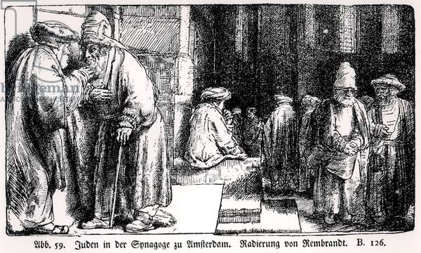 Jews in the Synagogue in Amsterdam, engraved by the artist (b/w photo)