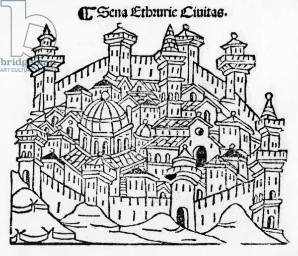 View of Siena, from 'Supplementum chronicarum', edition published in 1490 (woodcut)