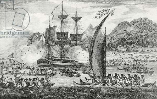 Captain Wallis attacked by the Indians, 1767 (engraving)