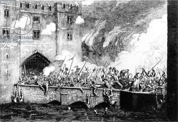 Sir Thomas Wyatt (c.1521-54) Attacking the Byward Tower (engraving) (b/w photo)