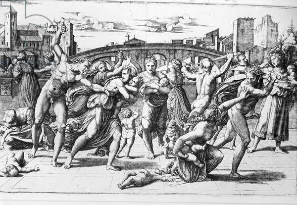The Massacre of the Innocents, engraved by Marcantonio Raimondi (engraving) (b/w photo)
