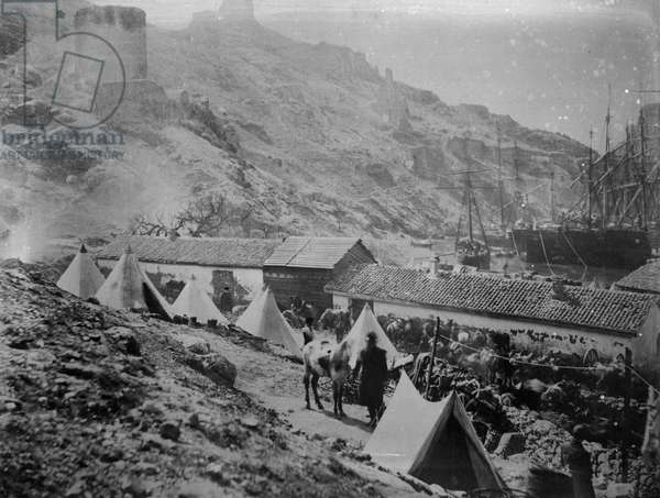 The Port at Balaklava during the Crimean War, c.1855 (b/w photo)