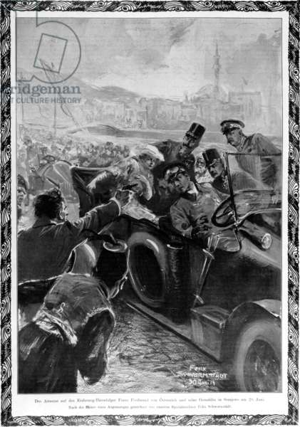 The Assassination of the Archduke Franz Ferdinand and his wife Sophie, Duchess of Hohenberg, 1914 (litho)