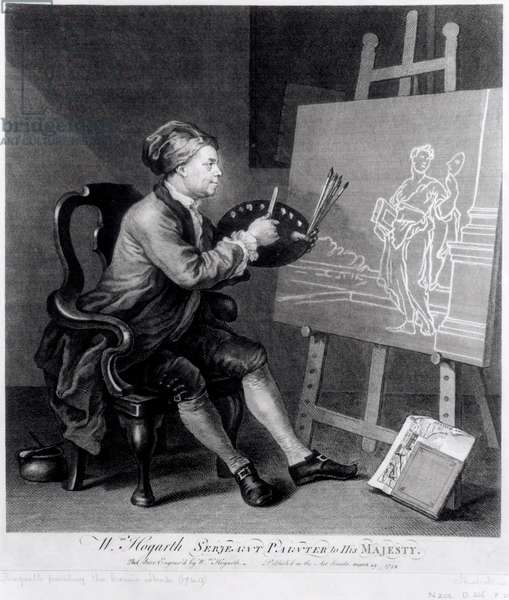 Self Portrait Painting the Comic Muse, engraved by the artist, pub. 1758 (engraving)