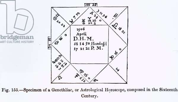 A Genethliac, or Astrological Horoscope, from 'Science and Literature in the Middle Ages', written and engraved by Paul Lacroix, 1878 (engraving) (b/w photo)