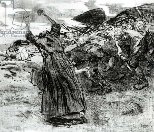 Outbreak, Plate 5 from the series 'The Peasants' Revolt', 1908 (etching and engraving) (b/w photo)
